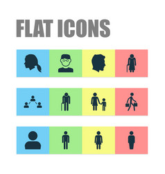 human icons set collection of old woman vector image