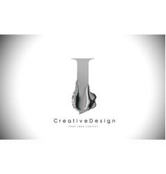 I letter design brush paint stroke black i letter vector