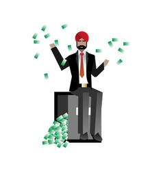 Indian bearded businessman sitting on bank safe vector