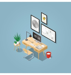 Isometric home office concept vector image