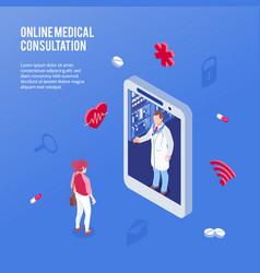 isometric online medicine doctor concept vector image