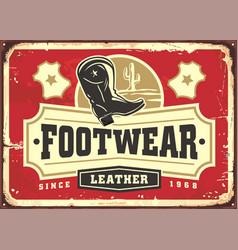Leather footwear metal sign advertisement vector
