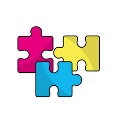Line color parts puzzle mental game vector