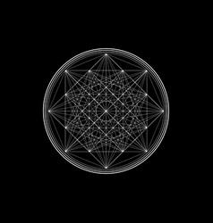 Line drawing mandala sacred geometry white logo vector