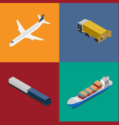 Logistics and freight transportation icon set vector