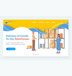 mail warehouse website template delivery of vector image