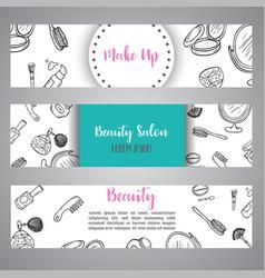 makeup business banner cosmetics items advert vector image