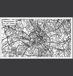 Manchester england city map in retro style vector