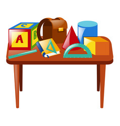 Many school materials on table vector