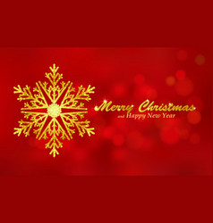 Merry Christmas red background with snowflake vector image vector image