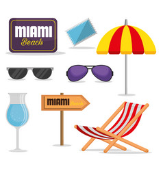 miami beach summer icons vector image