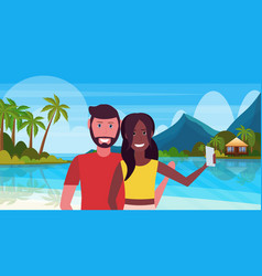 mix race couple taking selfie photo lovers on vector image