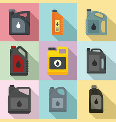 Motor oil icons set flat style vector