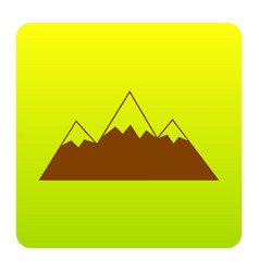 mountain sign brown icon at vector image
