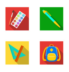 Multicolored paints with a tassel pen triangle vector