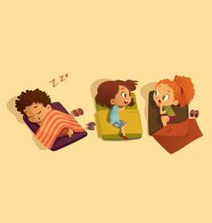 nap time in the kindergarten two school girls vector image