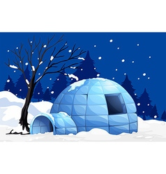 Nature scene with igloo on snowy night vector