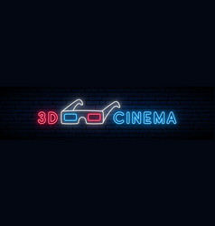 neon 3d glasses sign bright red and blue emblem vector image