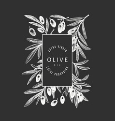 Olive branch design template hand drawn food on vector