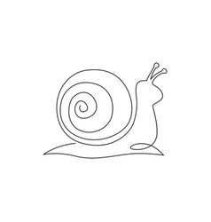 one single line drawing exotic snail mascot vector image