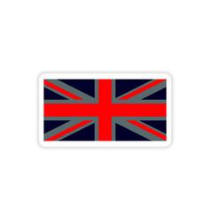 Paper sticker british flag on white background vector
