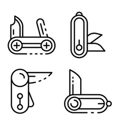 Penknife icons set outline style vector