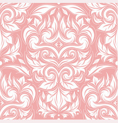 Pink and white damask seamless pattern vector