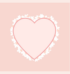 pink heart shape frame decorated blooming flowers vector image