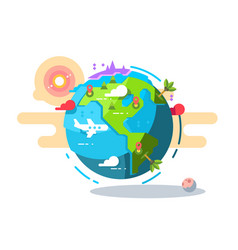 plane flying around the world geometric style vector image