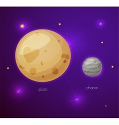 Pluto and its moon Charon space objects vector image