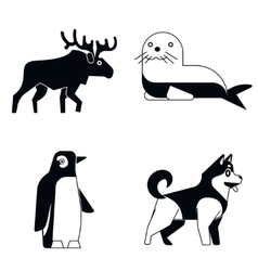 Polar animals in simple style on white shadow vector image