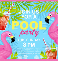 pool party invitation design vector image