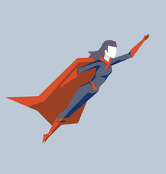 powerful female superhero fly up woman hero vector image