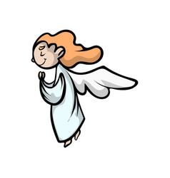 Prayer kid angel with long red hairs and wings vector