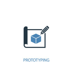 Prototyping concept 2 colored icon simple blue vector