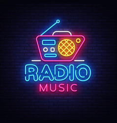 radio music neon logo radio night neon vector image