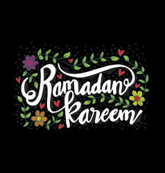 ramadan kareem hand sketched lettering vector image