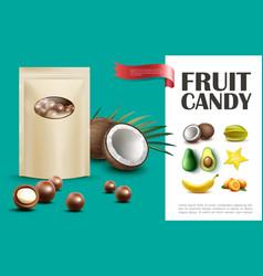Realistic fruit candies concept vector