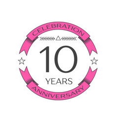 Realistic ten years anniversary celebration logo vector