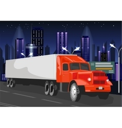Red truck with white cargo container vector image