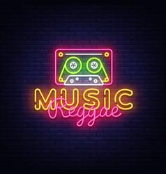Reggae music neon sign design vector