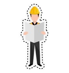 Repairman character working icon vector