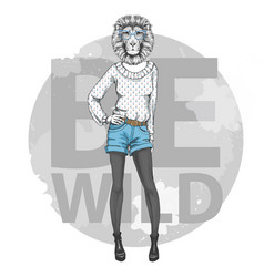 retro hipster fashion animal lion woman model vector image