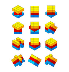 rubiks cube various positions of isometric rubiks vector image