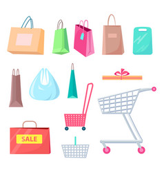 sale collection of bags carts vector image