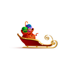 santa claus sleigh with bag of gifts vector image