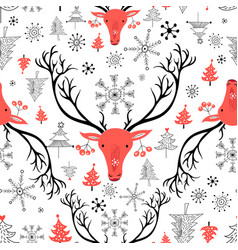 Seamless new year pattern with red portraits of vector