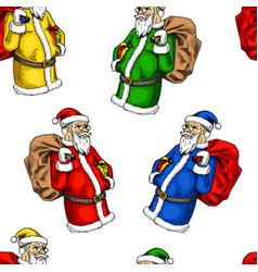 seamless pattern santa claus merry christmas vector image