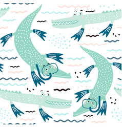 seamless pattern with crocodile diver creative vector image