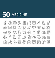 Set 50 medicine icons outline thin line icons vector